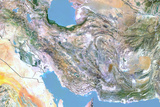 Iran, Satellite Image with Bump Effect, with Border Photographic Print