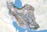 Iran, Satellite Image with Bump Effect, with Border and Mask Photographic Print