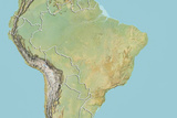 Brazil, Relief Map with Border Photographic Print