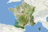 France, Satellite Image with Bump Effect, with Border and Mask Photographic Print