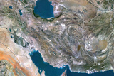 Iran, True Colour Satellite Image with Border Photographic Print