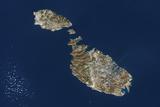 Satellite Image of Malta Photographic Print
