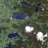 Satellite Image of Villarica Volcano, Chile Photographic Print