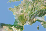 France, Satellite Image with Bump Effect, with Border Photographic Print
