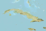 Cuba, Relief Map with Border Photographic Print