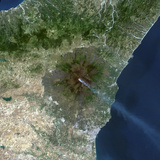 Satellite Image of Mount Etna's Smoke Plume in 1987, Italy Photographic Print