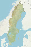 Sweden, Relief Map with Border and Mask Photographic Print
