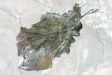 Afghanistan, True Colour Satellite Image with Border and Mask Photographic Print