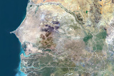 Senegal and the Gambia, True Colour Satellite Image with Border Photographic Print