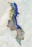 Malawi, True Colour Satellite Image with Border and Mask Fotografisk tryk