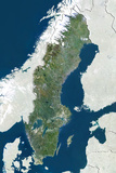 Sweden, True Colour Satellite Image with Border and Mask Photographic Print