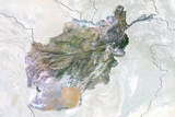 Afghanistan, Satellite Image with Bump Effect, with Border and Mask Photographic Print