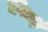 Costa Rica, Relief Map with Border and Mask Photographic Print