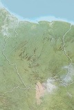 Suriname, Relief Map with Border Photographic Print