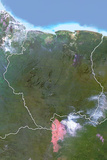 Suriname, Satellite Image with Bump Effect, with Border Photographic Print