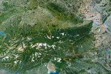 Satellite Image of Austria Photographic Print