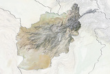 Afghanistan, Relief Map with Border and Mask Photographic Print