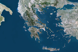 Satellite Image of Greece Fotografisk tryk