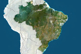 Brazil, True Colour Satellite Image with Border and Mask Photographic Print