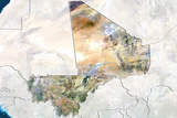 Mali, True Colour Satellite Image with Border and Mask Fotografisk tryk