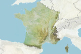 France, Relief Map with Border and Mask Photographic Print