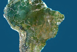Brazil, True Colour Satellite Image with Border Photographic Print