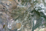 Afghanistan, True Colour Satellite Image with Border Photographic Print