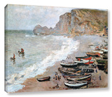 Claude Monet 'Cliffside Boats' Wrapped Canvas Stretched Canvas Print by Claude Monet