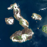 Satellite Image of Galapagos Volcanoes, Ecuador Photographic Print