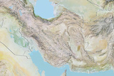 Iran, Relief Map with Border Photographic Print