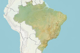 Brazil, Relief Map with Border and Mask Photographic Print