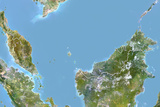 Malaysia, Satellite Image with Bump Effect, with Border Photographic Print
