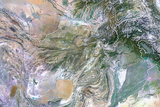 Afghanistan, Satellite Image with Bump Effect, with Border Photographic Print