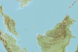 Malaysia, Relief Map with Border Photographic Print