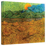 Vincent van Gogh 'Evening Landscape with Rising Moon' Wrapped Canvas Art Stretched Canvas Print by Vincent van Gogh