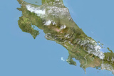 Costa Rica, Satellite Image with Bump Effect, with Border Photographic Print
