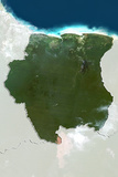 Suriname, True Colour Satellite Image with Border and Mask Photographic Print