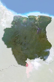 Suriname, Satellite Image with Bump Effect, with Border and Mask Photographic Print