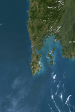 Satellite Image of Phuket Thailand Photographic Print