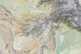 Afghanistan, Relief Map with Border Photographic Print