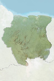 Suriname, Relief Map with Border and Mask Photographic Print