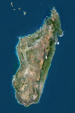 Madagascar, True Colour Satellite Image with Border Photographic Print