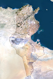 Satellite Image of Tunisia Stampa fotografica