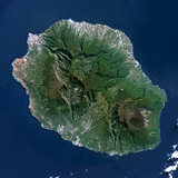 Satellite Image of Piton De La Fournaise Volcano, Reunion Island, French Overseas Fotografisk tryk