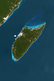 Satellite Image of Cozumel Island, Mexico Photographic Print