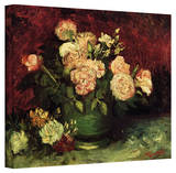 Vincent van Gogh 'Peonies and Roses' Wrapped Canvas Stretched Canvas Print by Vincent van Gogh