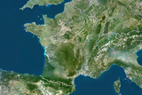 France, True Colour Satellite Image with Border Photographic Print