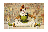 A Clown Balancing Between Two Chairs Giclee Print