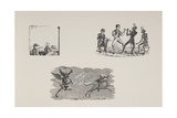 Various Scenes Including a Man Boxing With a Devil and a Devil Chasing a Horseman. Giclee Print by Thomas Bewick
