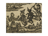 A Witch and Demon Flying On Broomsticks. There Is Also a Servant and Gentleman Depicted Giclee Print